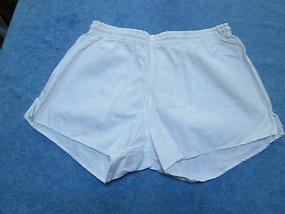 Fine true vintage military white cotton PT shorts, D7, 36""