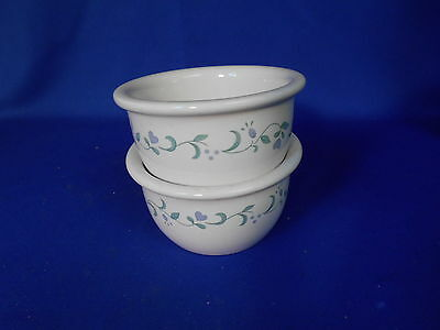 Corning Corelle COUNTRY COTTAGE (2) Ramikins White Lavender flowers Hearts