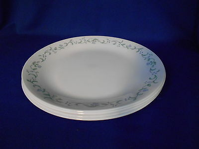 Corning Corelle COUNTRY COTTAGE (4) Dinner Plates White Lavender flowers Hearts