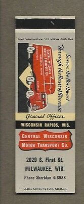 Trucking Central Wisconsin Transport Co Milwaukee Wisconsin Flat Matchcover A388