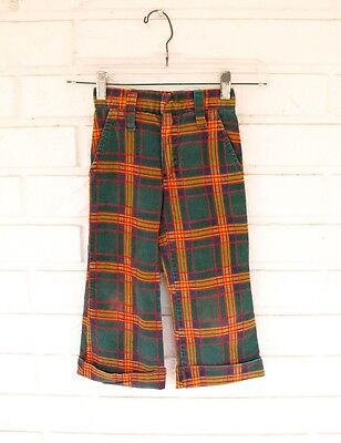 Vintage Boys Girls 70S Plaid Red Green Retro Corduroy Pants 4T 4 5 Bell bottoms