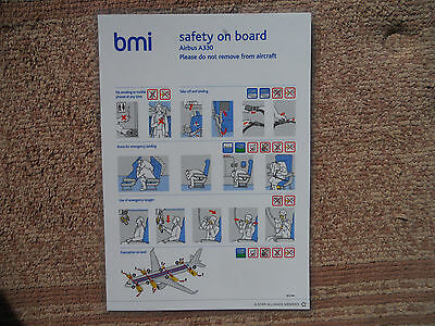BMI Airbus A330 Airline Safety Card
