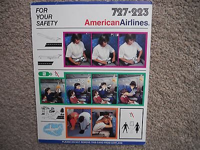 American Airlines Boeing 727 223 Airline Safety Card