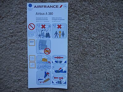 Air France Airbus A380 Airline Safety Card
