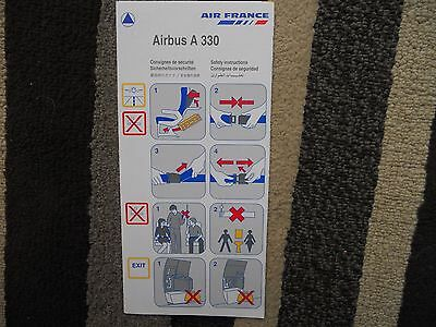 Air France Airbus A330 Airline Safety Card 2001