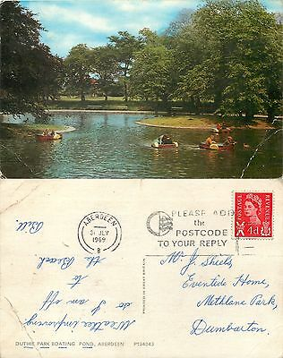 a1046 Duthie Park Boating Pond, Aberdeen, Scotland postcard posted 1969 stamp