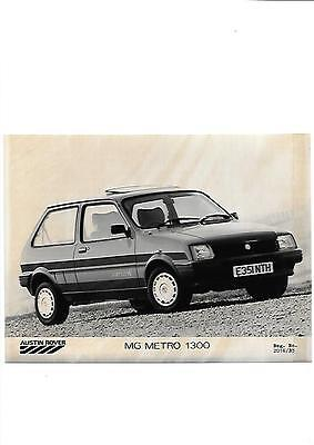 Austin Rover Mg Metro 1300 Press Photo 'e' Registered 'brochure Connected'