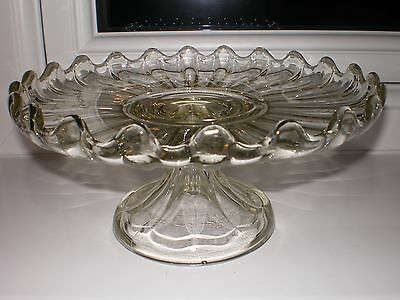 Beautiful Vintage Molded Glass Pedestal Cake Stand/Charger