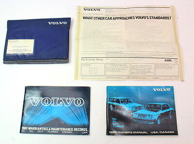 1983 Volvo 240 DL GL GLT Turbo Operating Instructions Owners Manual