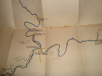 Map old fishing River Wey Huntingford Bentley Tilford Elstead Surrey trout water