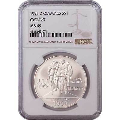 1995-D Olympics Cycling NGC MS69 Commemorative Silver Dollar Coin