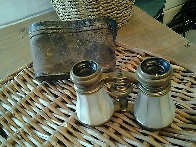 Vintage Good Edwardian Mother Of Pearl Opera Glasses In Original Pouch