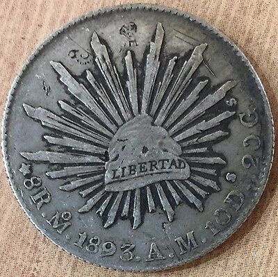 1893 Mexico 8 Reales Cap and Rays Silver Coin with Chop Marks