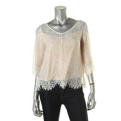 Ella Moss 9005 Womens Ivory Lace 3/4 Sleeves V-Neck Pullover Top XS BHFO