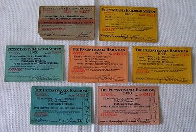 1924-1930 PENNSYLVANIA RAILROAD Pittsburgh Eastern Region & NY TRAIN PASS Lot