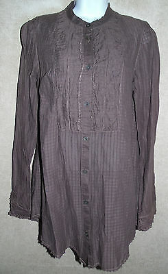 Excellent Textured Brown Free People Long Sleeve Ruffled Front Blouse - 8