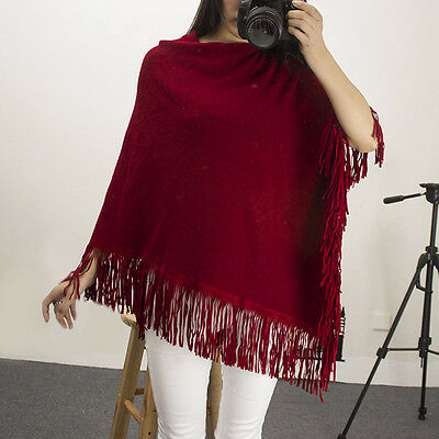 New Pregnant Women Knit Tops Tassel Loose Cape Cloak Wrap Plain Jumper Sweater