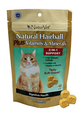 NaturVet Natural Hairball CAT Plus Vitamin Minerals 2-in-1 Soft Chew 50 count