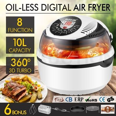 NEW 10L 8 Function Air Fryer Convection Turbo Oven Cooker Rotisserie White