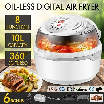 8 Function Digital Air Fryer Turbo Convection Oven Cooker Low Oil Healthy Grey