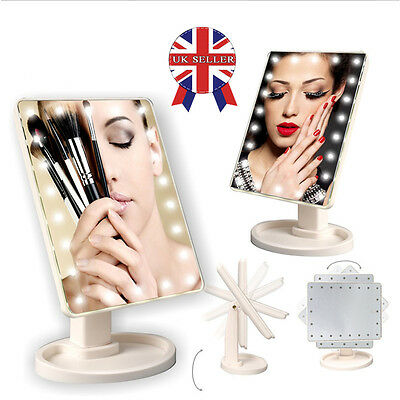 22 LED Light Illuminated Make Up Cosmetic Mirror &10X Suction Magnifying Mirrors