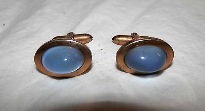 Vintage Pale Blue Moonstone Glass Oval Cab Cufflinks Gold Plate Correct Quality