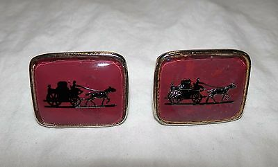 Vintage Reverse Painted Glass Horse and Carraige Cufflinks Yellow Gold Tone BIG