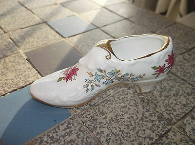 Collectable Miniature Boot Shoe Paragon China Pink & Blue Flowers Gilded Rims