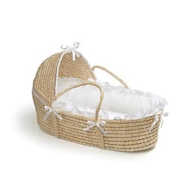 Badger Basket Moses Basket with Hood and Bedding, Natural/White New
