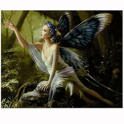 """Wood Framed Paint By Numbers Kits Butterfly Fairy Digital Acrylic Canvas 16X20"""""""