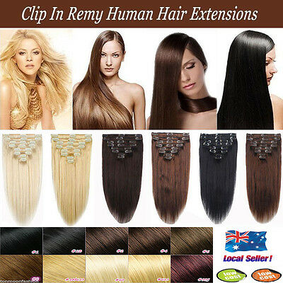 Full Head Women Clip in 100% Real Soft Human Hair Extensions 13-22 inch Straight