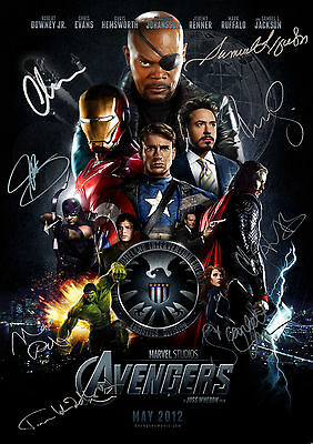 "The Avengers Marvel Cast Signed  Pre-Printed Autograph   8""x6"" Metal Plaque 2"