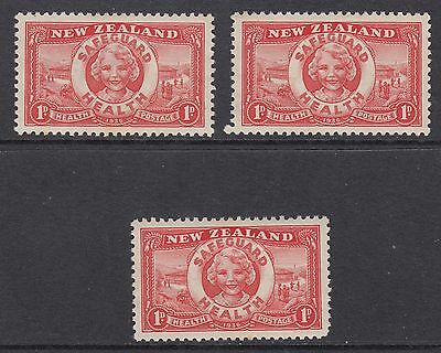 NEW ZEALAND 1936 1d + 1d HEALTH, 3 Stamps, Mint Never Hinged