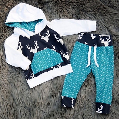 UK Seller Toddler Kids Baby Boys Deer Hooded Tops Pants Outfits Clothes Set