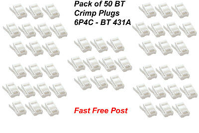 BRAND NEW 50 Pack BT White 4 Pin Telephone Crimp Plug BT431A / 431A x Pack of 50