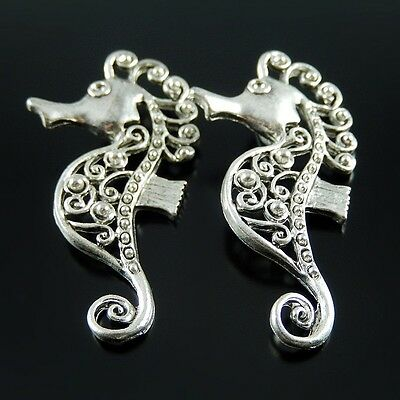 Vintage Silver Mini Hollow Seahorse Look Alloy Charms Pendants Crafts 10x 52061