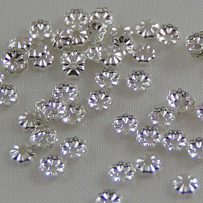 3.5mm SP flower end beads approx 100 flower cap Silver plated earring findings