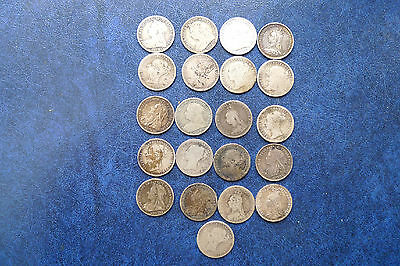 21 x Victoria Silver Threepence Coins