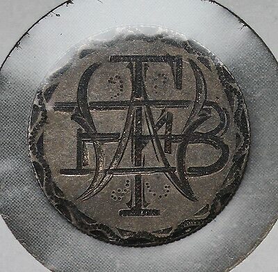 """1873 With Arrows Seated Liberty Dime Love Token - """"WFB"""""""