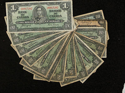 Collection of 14 Canada 1937 Note - 12 $1, $2 and $5 Notes