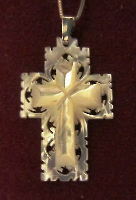 Gorgeous Carved Mother Of Pearl Cross On Sterling Silver Chain