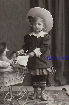 CDV Photo SWEET LITTLE GIRL with pram toy / child fashion hat lace - GERMANY /cy