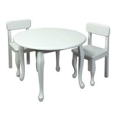 Giftmark Childrens Round Solid Wood Queen Anne Table & Chair Set White