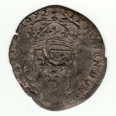 French Colonial, nice 1692 M recoined billon sol with lis c/m