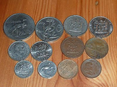 South Africa - 1 Rand To 1 Cent Coins - 1965 To 1989 - 12 Great Coins