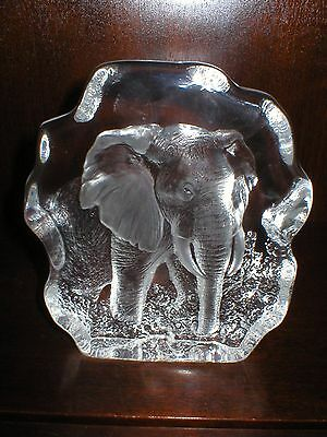 Large Mats Jonasson Lead Crystal Elephant Sculpture Paperweight Mj Sweeden 3288