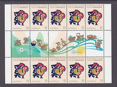 Christmas Island 2017 Year of the Rooster Mint unhinged Gutter block 10 stamps