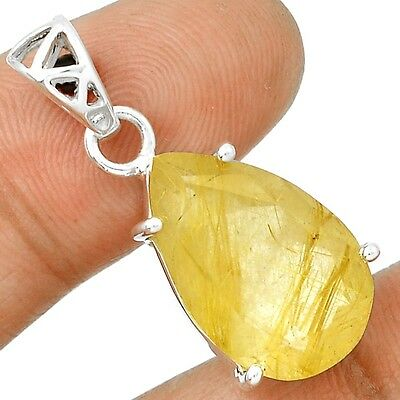 Faceted Golden Rutile 925 Sterling Silver Pendant Jewelry SP209962
