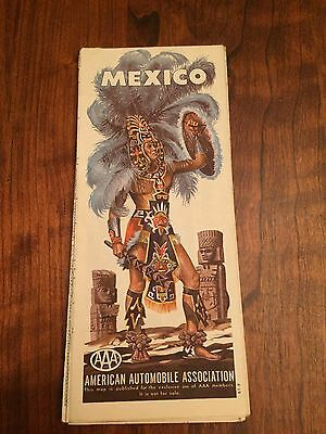 Vintage AAA Mexico Road Map. Great Colour And Pictures. EUC.