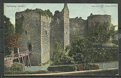 Postcard : Isle of Bute view of Rothesay Castle & entry Bridge posted 1905